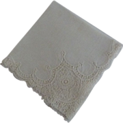 SOLD Vintage French Bridal Hankie Ecru Inrticate Lace