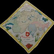 Hankie Map of Switzerland 1950's Graphics