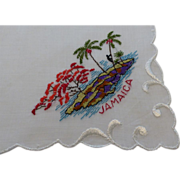 Hankie ~ Jamaica Embroidered