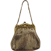 Whiting & Davis Gold Mesh Bag with Unusual Cut-out Frame