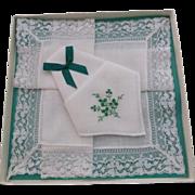 Vintage Gift Boxed Irish Linen Hankies Hanky