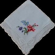 Hankie Handkerchief Peti pointe Lace Edged