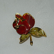 SALE Stunning Dramatic Enamel Rose Brooch ~ Classic Mid Century