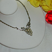 SALE Early Avon Pot Metal Grape Cluster Pendant ~ Rhinestones Faux Pearls