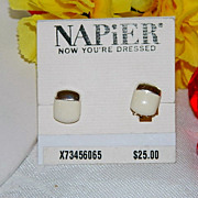 SALE Sexy Napier Summer White Silver Tone Earrings ~ On Original Card
