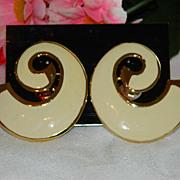 SALE Stunning Les Bernard Runway Designer Earrings ~ Bold Enamel  On Original Card