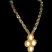 """SALE Big Bold Vintage Milk Glass Cab Necklace ~  24"""" Chain"""