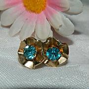 SALE Brilliant Art Deco Blue Paste Earrings ~ Free Ship Item!