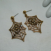 SALE Vintage Rhinestone Spider Web Dangler Earrings ~ Posts