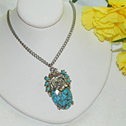 SALE Stunning Delicate Faux Turquoise Pendant ~ Copper Veined ~ Rose Setting