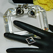 SALE Gorgeous Sterling Hematite Ring & Earring Set ~ Ring Sz 6