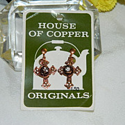 SALE 1950's House of Copper ~ Cross Earrings Rhinestones Gorgeous