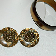 SALE Huge Gorgeous Rootbeer Swirl Lucite Earrings & Bangle Set