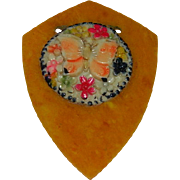 SALE Fascinating Early Bakelite & Celluloid Butterfly Garden Pendant