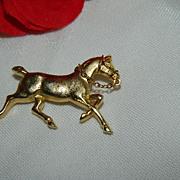 SALE Beautiful Gold Tone Galloping Horse Brooch w/ Chain Reins