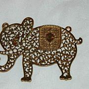 SALE Huge Vintage Filigree Elephant Pendant for Your Creations