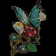 SALE Early Molded Plastic  Singing Bird Pin Brooch ~ Rhinestone Belly