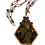 SALE Aztec! Vintage Mixed Metals Mother and Child Pendant, Hallmarked