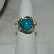 SALE One of  Kind by Jackie O! Robin's Egg Blue Crackle Glass Messy Wrap Ring Sterling Silver