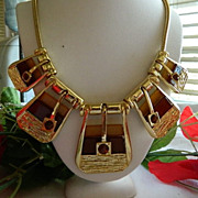 SALE Huge 1980's Enamel Rhinestone Buckle Motif Bib Necklace