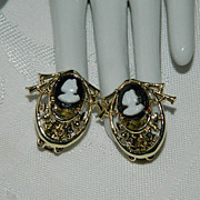 SALE Black & White Celluloid Cameo Asian Design Earrings