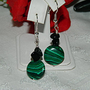 SALE Vivid Malachite & Black Chalcedony Earrings w/Sterling Hooks