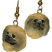 SALE Vintage Hand Carved Celluloid Pekingese Dog Puppy Earrings