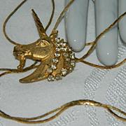 "SALE Stunning Rhinestone Unicorn Lariat Necklace  ~ 32"""