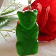 SALE Cute Faux Jade Bear Pendant on Silver Tone Chain