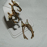 SALE Victorian Gold Filled Double Wishbone Brooch & Earrings Paste Stones