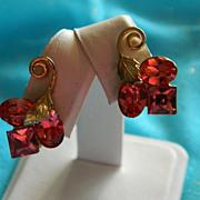 SALE Stunning Art Deco Pink Rhinestone Earrings ~