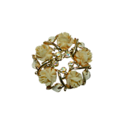 SALE Early Carved Celluloid Rose Wreath Brooch ~ AB Stones