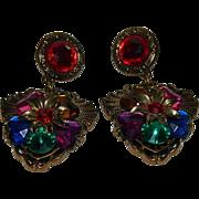 SALE Huge Bold Beautiful Resin Lucite Rhinestone Clip Earrings