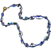 SALE Rich Cobalt Blue Carnival Glass Opaline Glass Twisted Three Strand Necklace