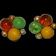 SALE Glowing Camphor Celluloid Beaded Fruit Salad Earrings