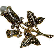 SALE Lovely Spanish Damascene Tulip Brooch with Faux Pearl