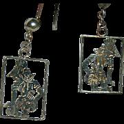SALE Older Sterling Mayan Dancer Earrings