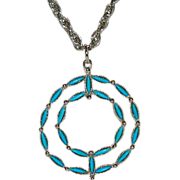 SALE Stunning Roma Native Petite Point Turquoise Circle Pendant on Long Chain