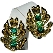 SALE Brilliant Green Rhinestone Gold Plate Earrings