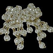 SALE Oversized Faux Pearl Beaded Dangler Earrings