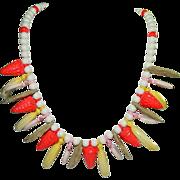 SALE Carmen Miranda Early Plastics Fruit Charm Necklace