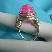 "SALE Original by Jackie ""O"" Cotton Candy Crackle Glass Wrapped Ring"