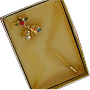 SALE Original Package Gold Plated Christmas Bells Wreath Stick Pin