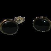 SALE Petite Sterling Onyx Earrings