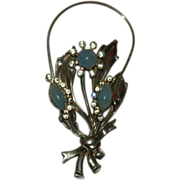 SALE Supreme Art Deco Stamped Metal Opaline Glass Cab Brooch