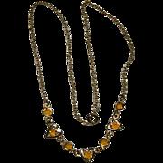 SALE Sweet Bezel Set Citrine Crystal Heart Necklace