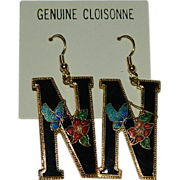 "Charming Vintage Cloisonne Enamel Monogram Letter ""N"" Earrings"