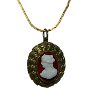 SALE Highly Unusual Old Cameo ~ Milk Glass on Carnelian with Wheated Gold Leaf Setting