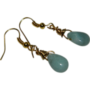 SALE Hand Made Peruvian Opal Briolette Earrings in Gold Filled Wire