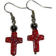 SALE Pretty Venetian Millefiori Cross Earrings